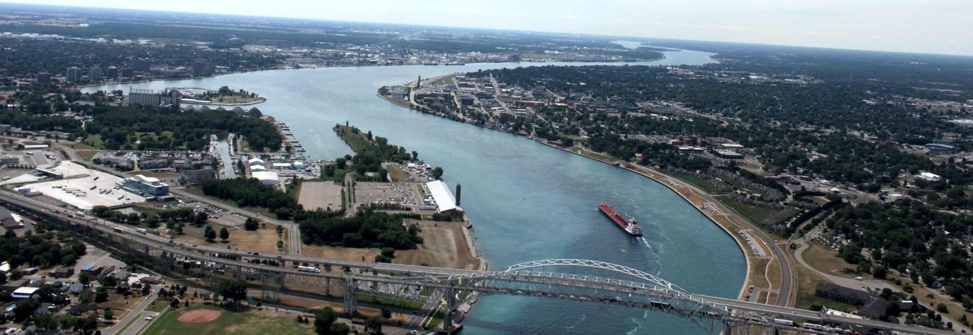 st clair river with freighter